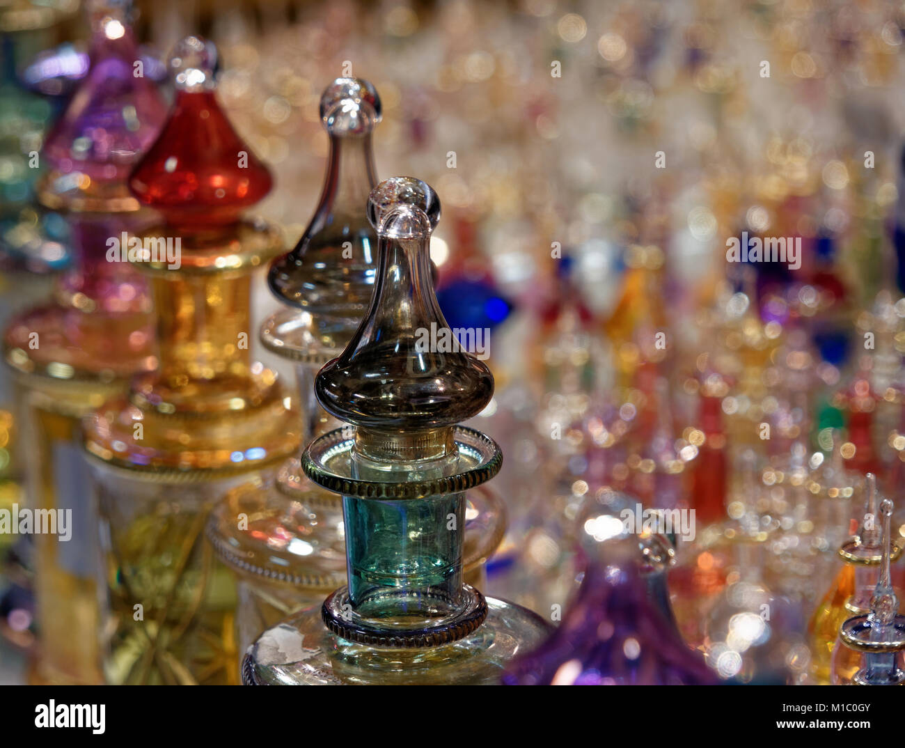 Amphorae with essential oils for perfume from Arab countries, Tunesia - Stock Image