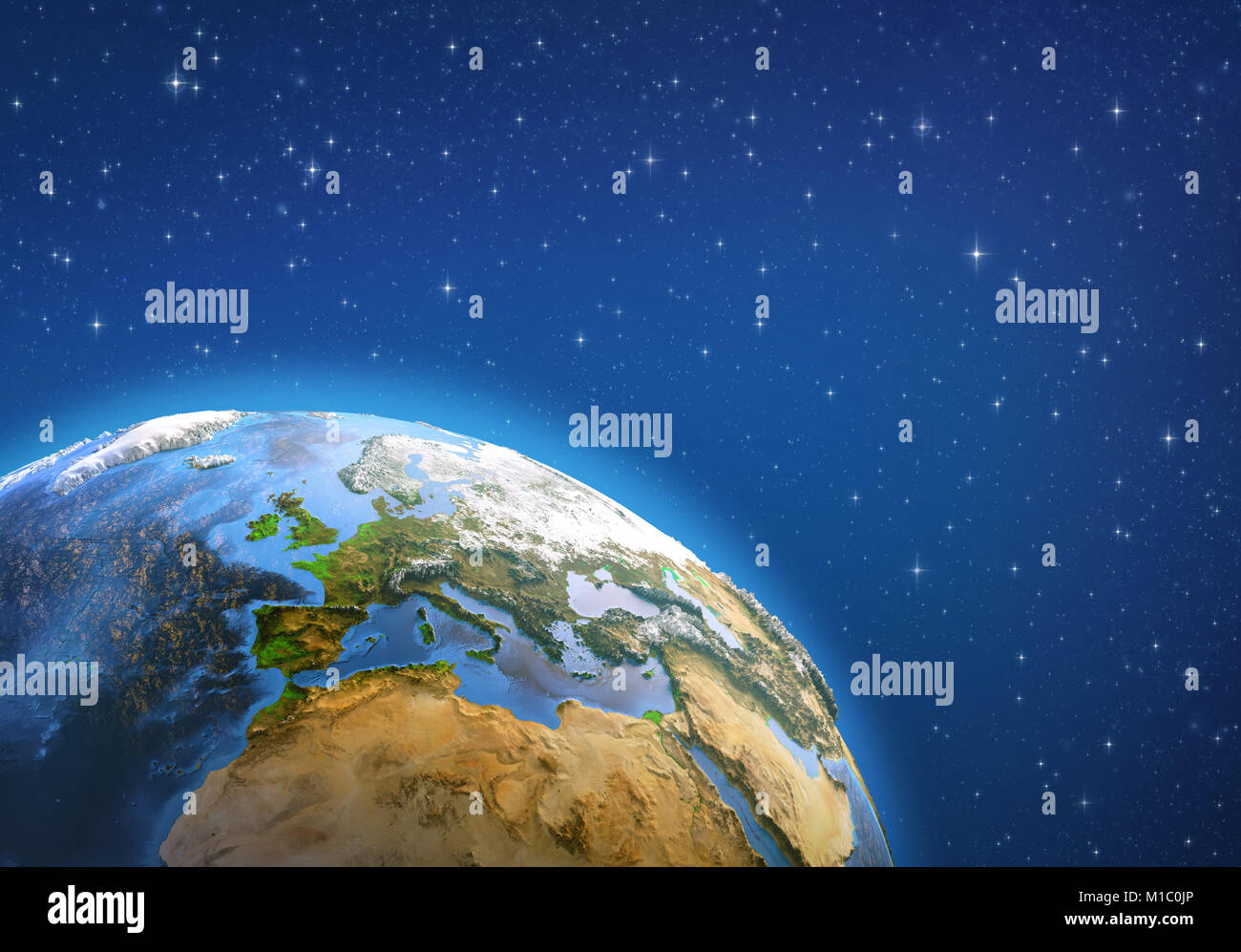 Planet Earth in deep space, focused on Western Europe. 3D illustration - Elements of this image furnished by NASA. - Stock Image