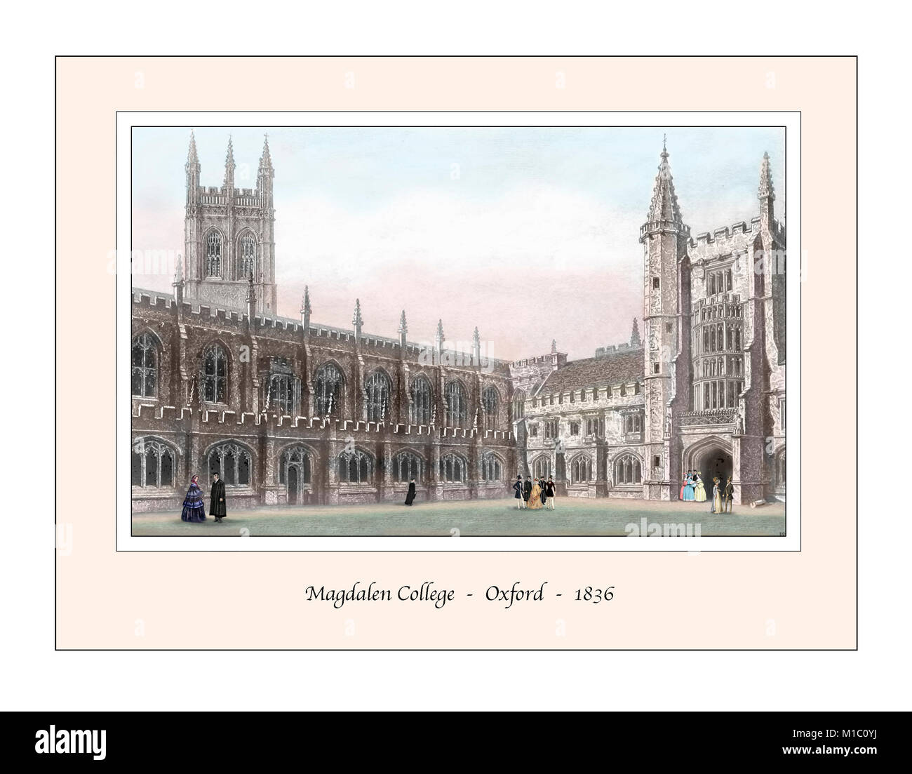 Magdalen College Oxford Original Design based on a 19th century Engraving - Stock Image