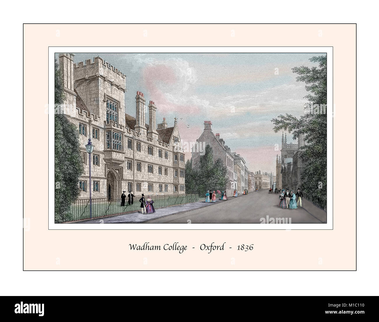 Wadham College Oxford Original Design based on a 19th century Engraving - Stock Image