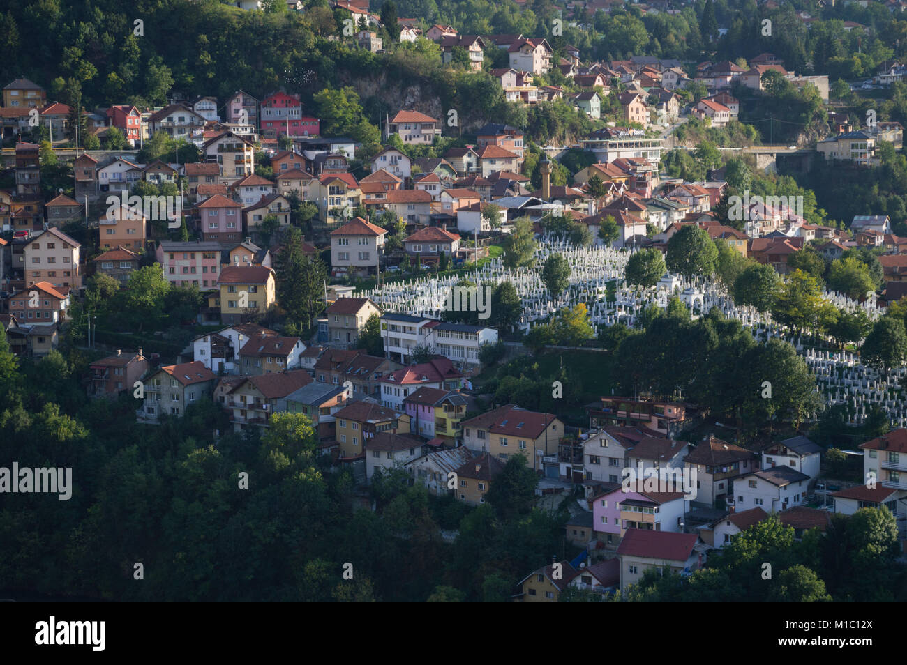 Panoramic Shot of Sarajevo Cityscape from Lookout Point Yellow Bastion, Bosnia and Herzegovina - Stock Image