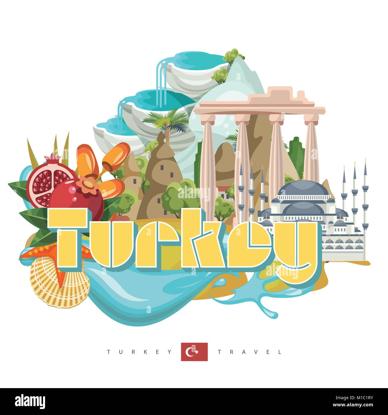 Turkey vector vacations illustration with turkish landmarks. Travel agency poster. - Stock Image