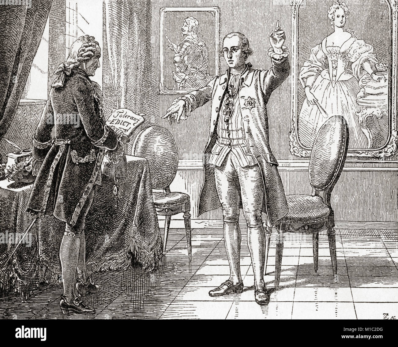 Joseph II, right, and his minister Kaunitz.  Joseph II, 1741 – 1790.  Holy Roman Emperor and ruler of the Habsburg - Stock Image