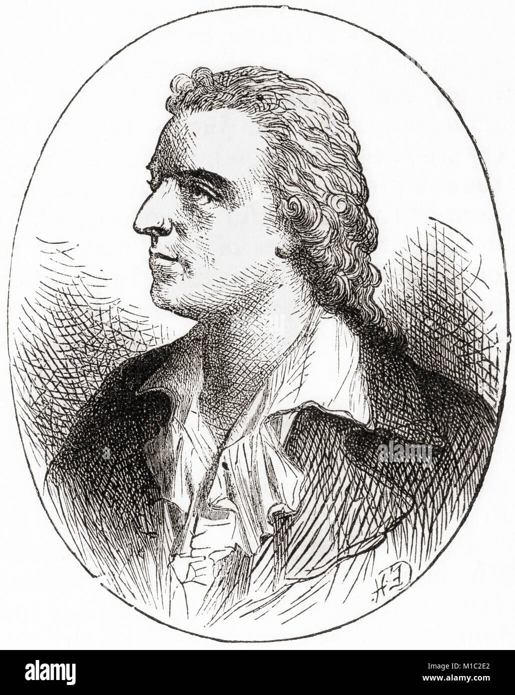 Johann Christoph Friedrich von Schiller, 1759 – 1805.  German poet, philosopher, physician, historian and playwright. - Stock Image