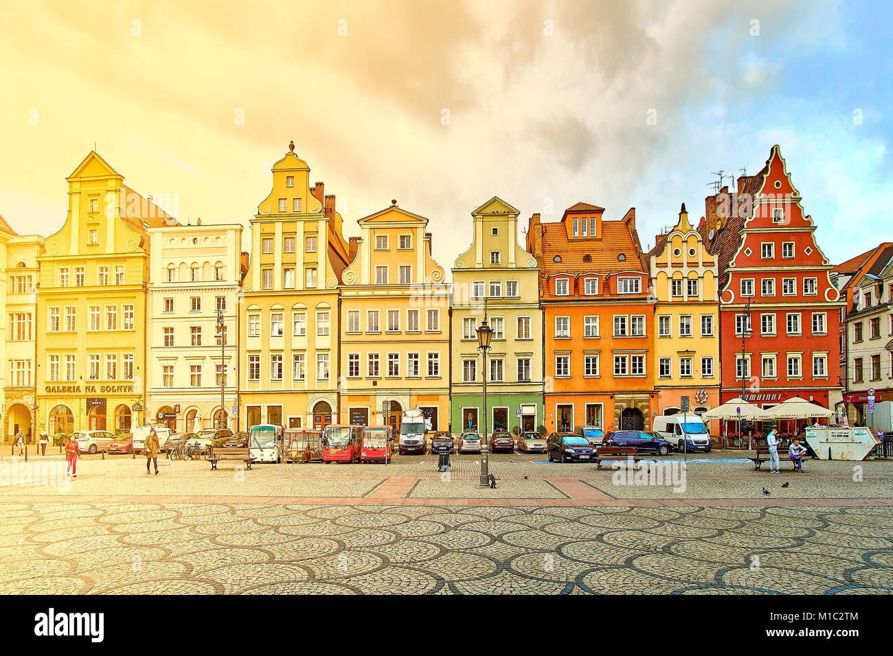 Fantastic view of the ancient homes on a sunny day. Gorgeous picture and picturesque scene. Location famous Market - Stock Image