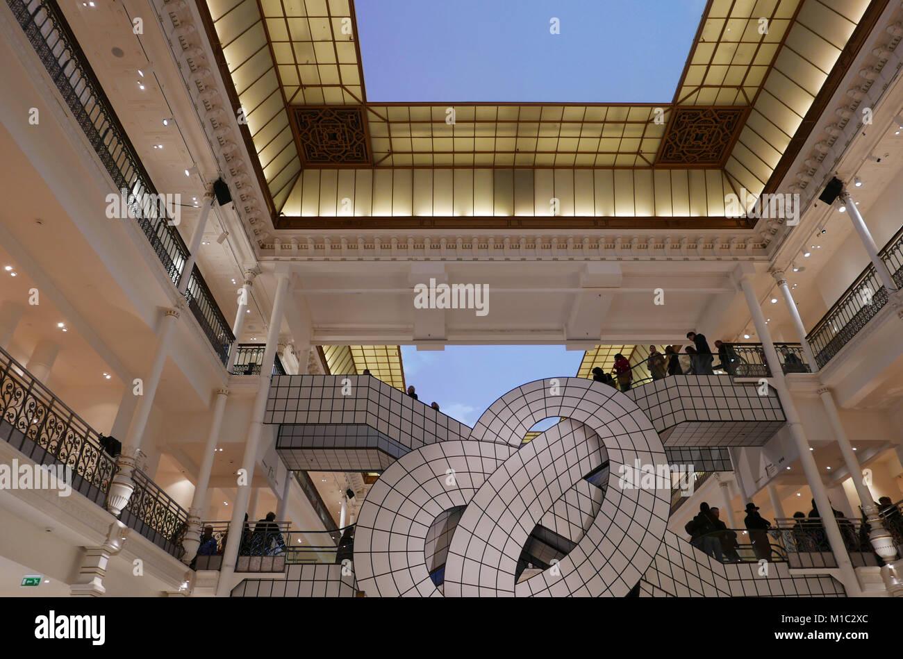 Sous le Ciel, Leandro Erlich exhibition in Le Bon Marche Rive Gauche Department store, Famous escalators designed - Stock Image