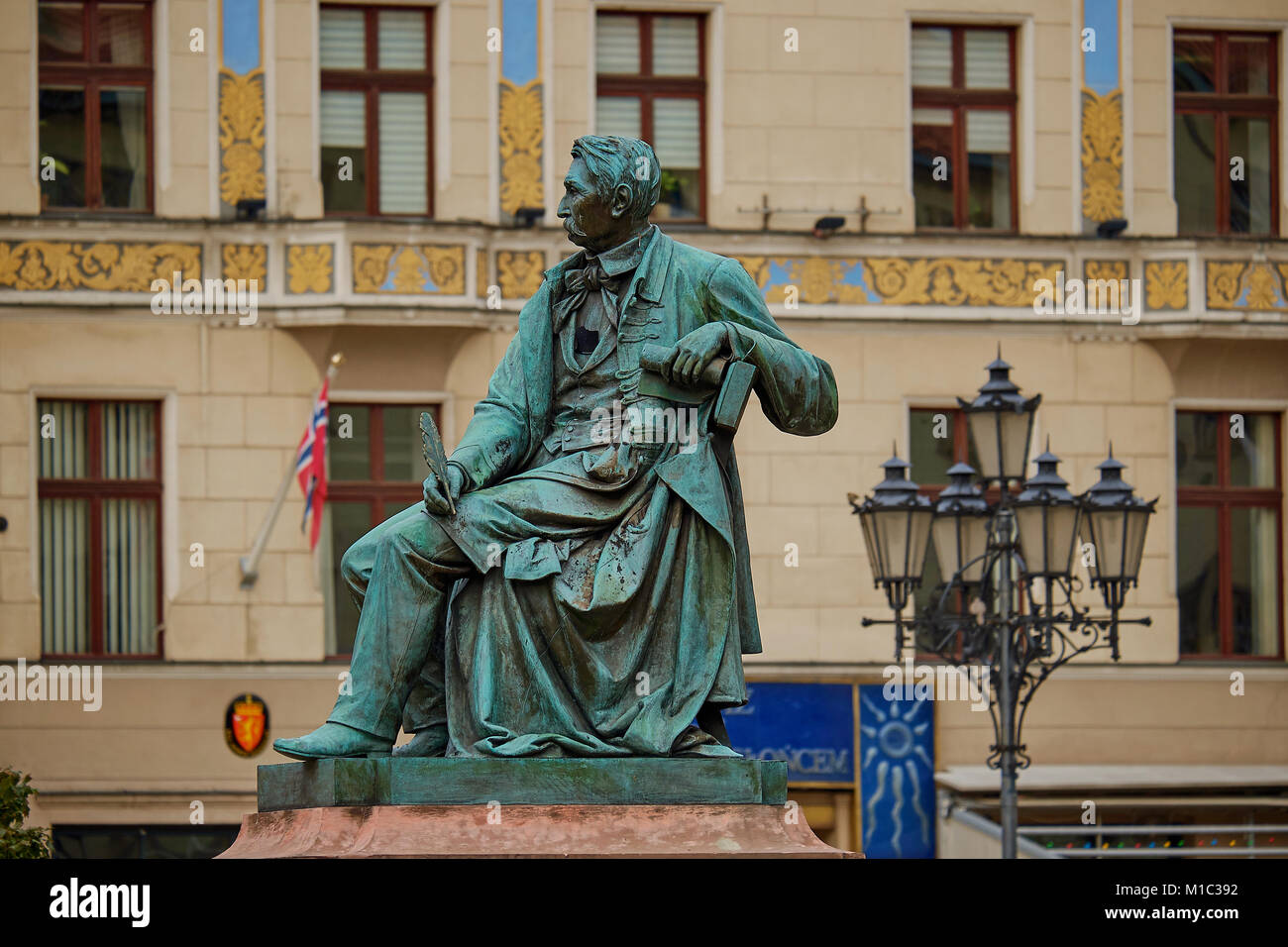 Neoclassical bronze statue of famous Polish writer Alexander Fredro, 1897, by Leonard Marconi, Wroclaw's main - Stock Image