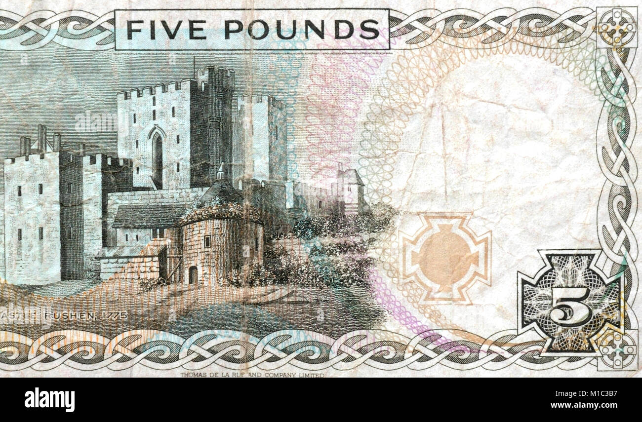 Isle of Man Five 5 Pounds Bank Note Stock Photo