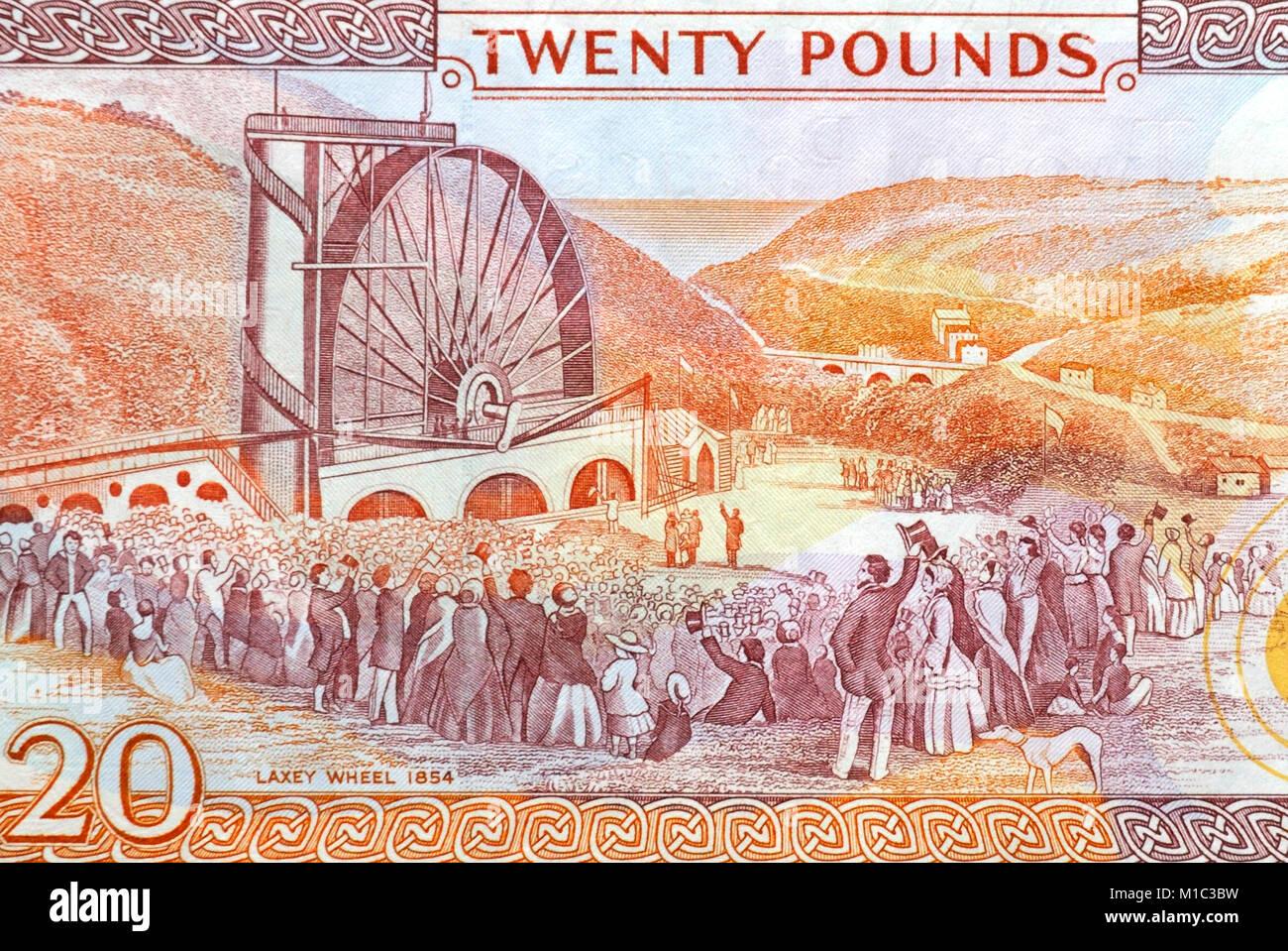 Isle of Man Twenty 20 Pounds Bank Note Stock Photo