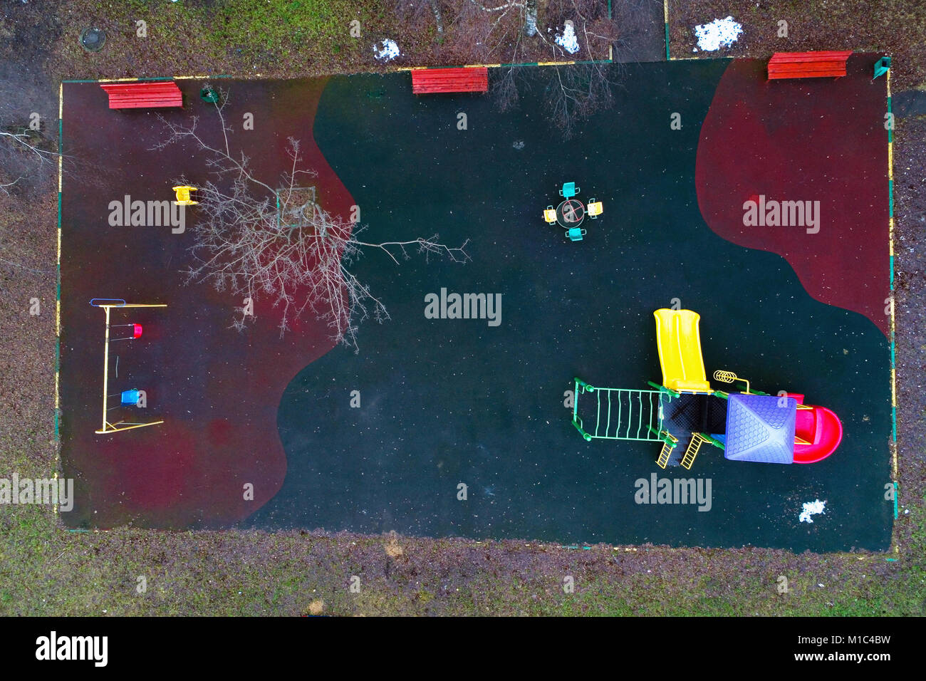 View of the playground from the top. Aerial photography. - Stock Image
