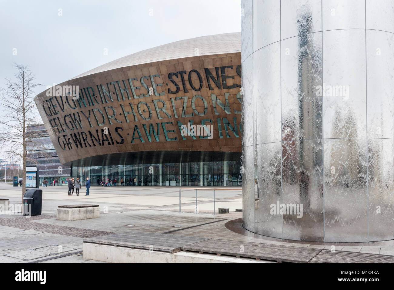 National Assembly for Wales Millennium Centre building and water tower feature, Cardiff, Wales, GB, UK - Stock Image