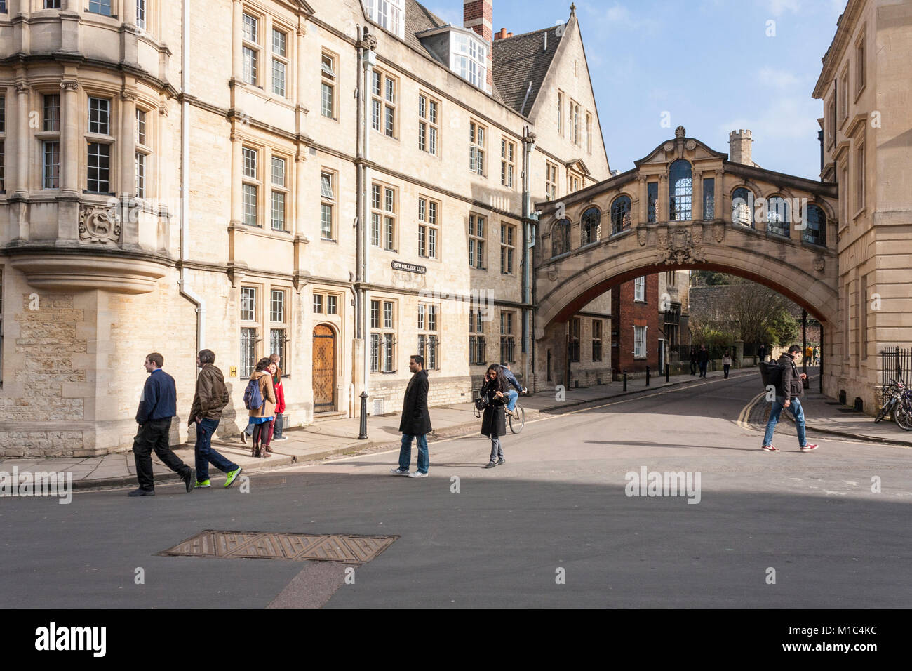 Hertford Bridge, commonly known as the Bridge of Sighs,  joins two parts of Hertford College at Oxford University, - Stock Image