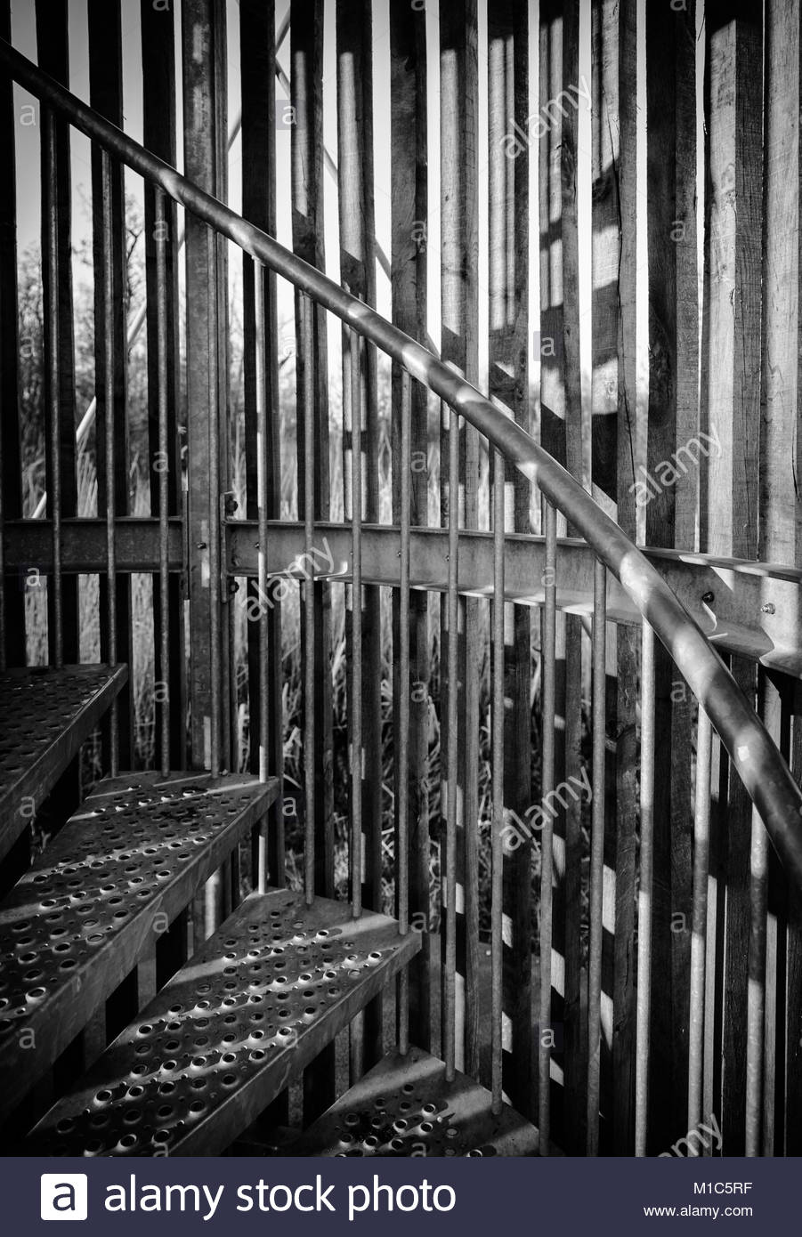 Stairs going up black and white - Stock Image
