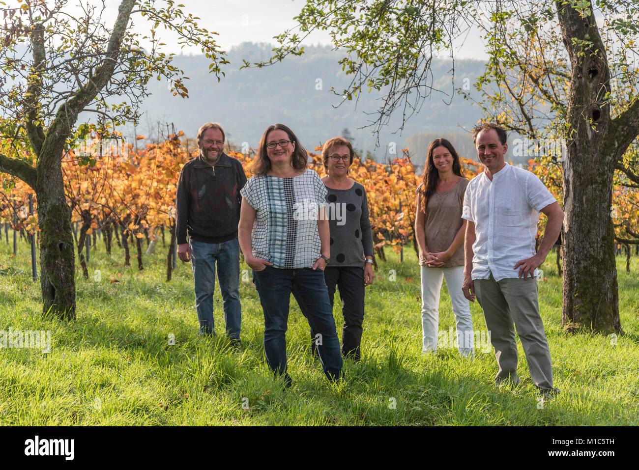 Ellwanger familiy, Bernhard Ellwanger winery, Grossheppach, Germany - Stock Image