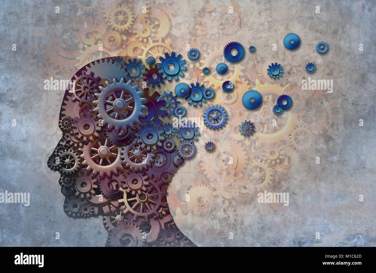 alzheimers memory loss due to Dementia and brain disease with the abstract medical icon of a human head and neurology - Stock Image
