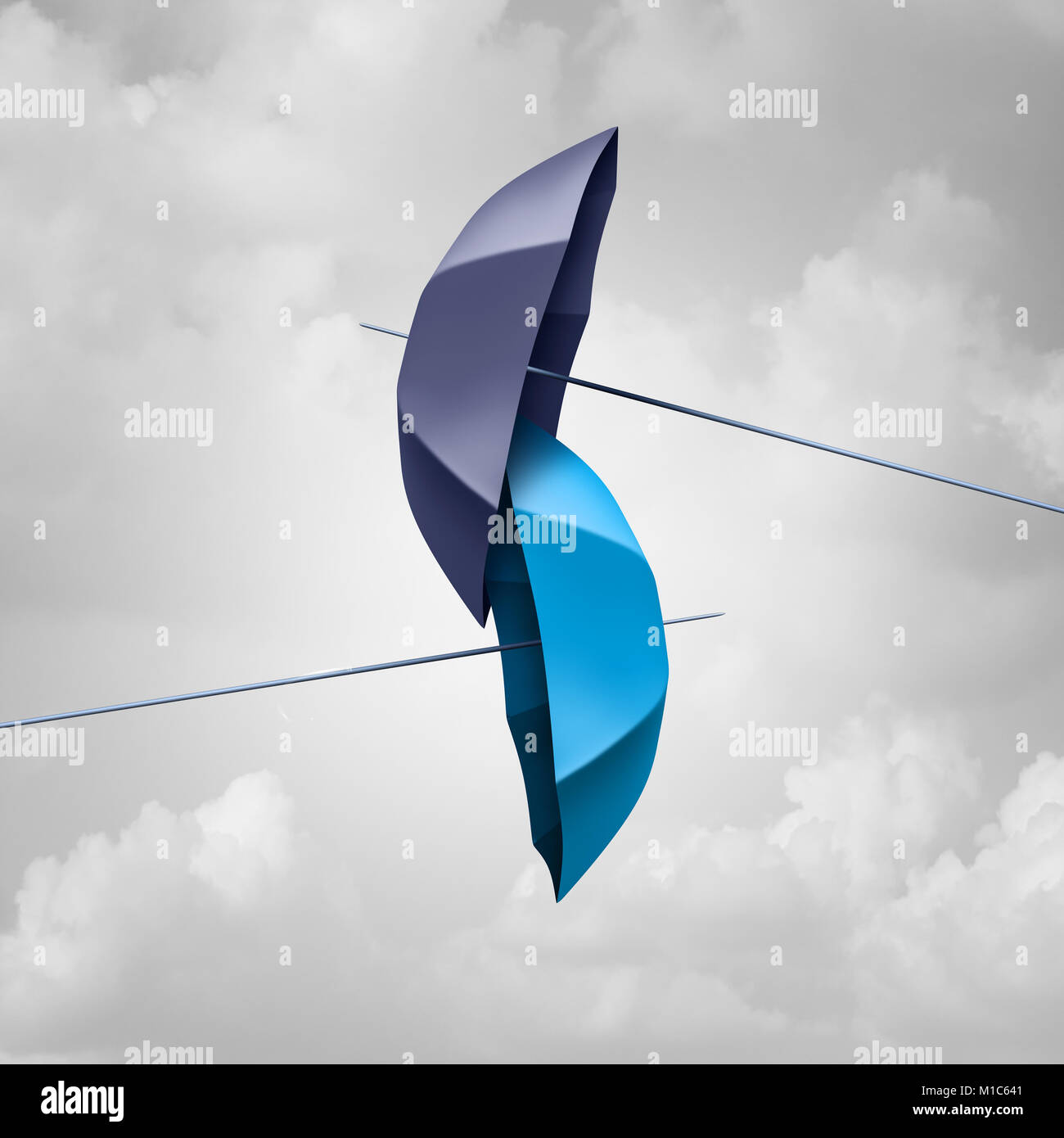 Protection link connected concept as two different umbrellas tied and linked together as an unbreakable chain as - Stock Image