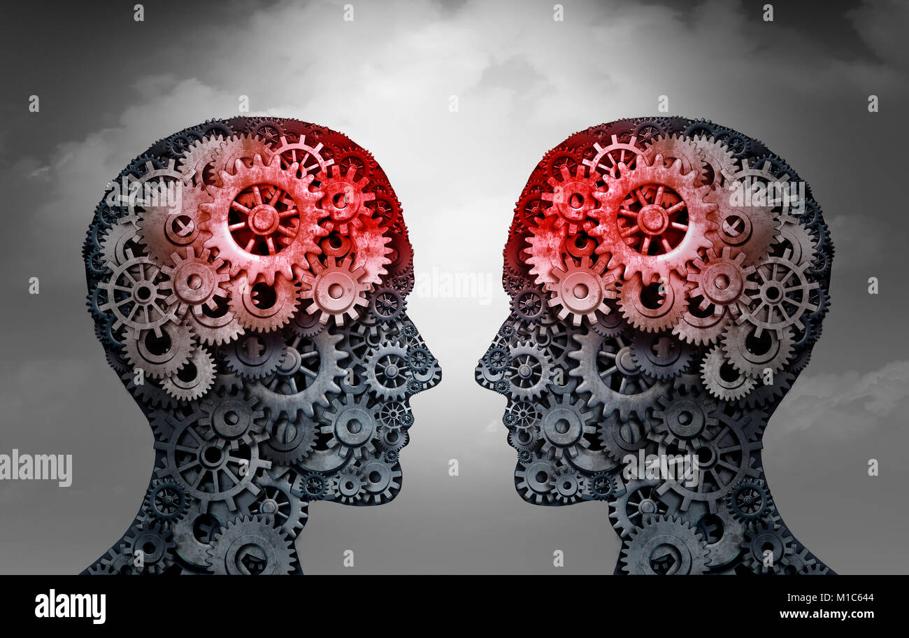 Telepathy and mind reading psychology or mental connection concept as telepathic people symbols communicating through - Stock Image