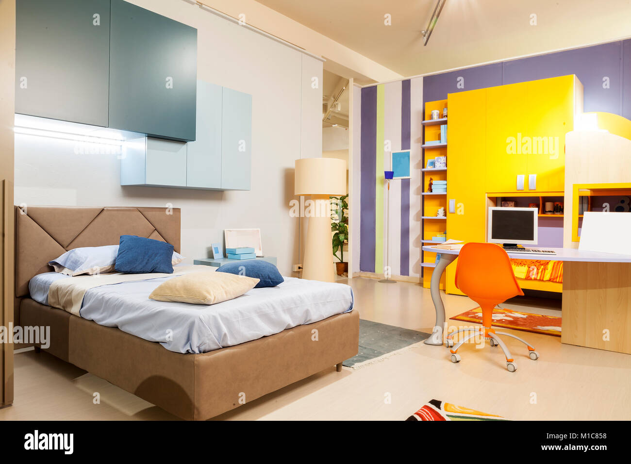 home interior modern beautiful apartment in new luxury location. children bedroom - Stock Image