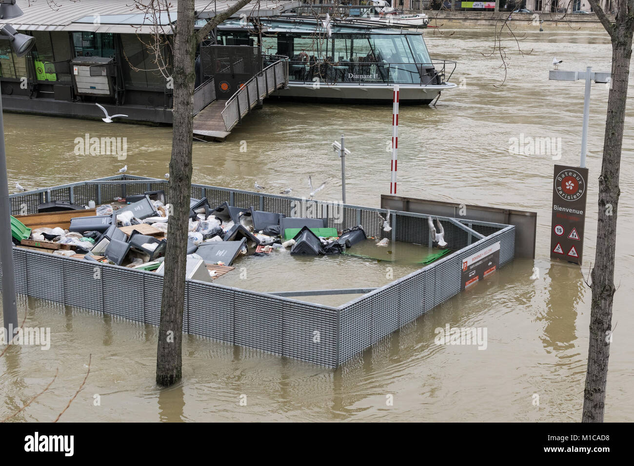 Paris, France. 28th Jan, 2018. Rubbish in rising flood water in Paris, River Seine in flood January 28 2018 Credit: - Stock Image