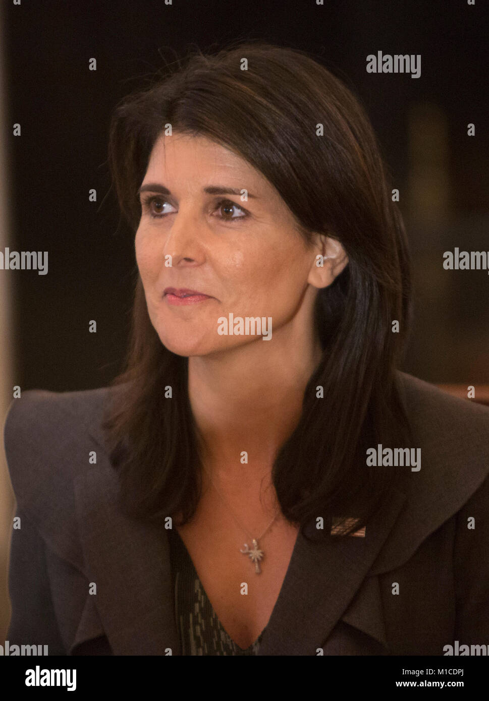 United States Ambassador to the United Nations Nikki Haley listens during a lunch with the United Nations Security - Stock Image