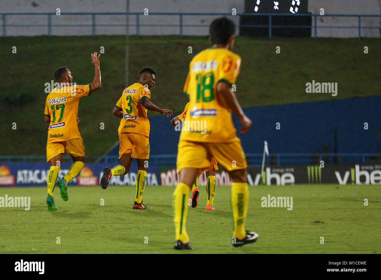 SANTO ANDRÉ, SP - 29.01.2018: SANTO ANDRÉ X MIRASSOL - Jesiel do Mirasol celebrates his goal during the match between Stock Photo