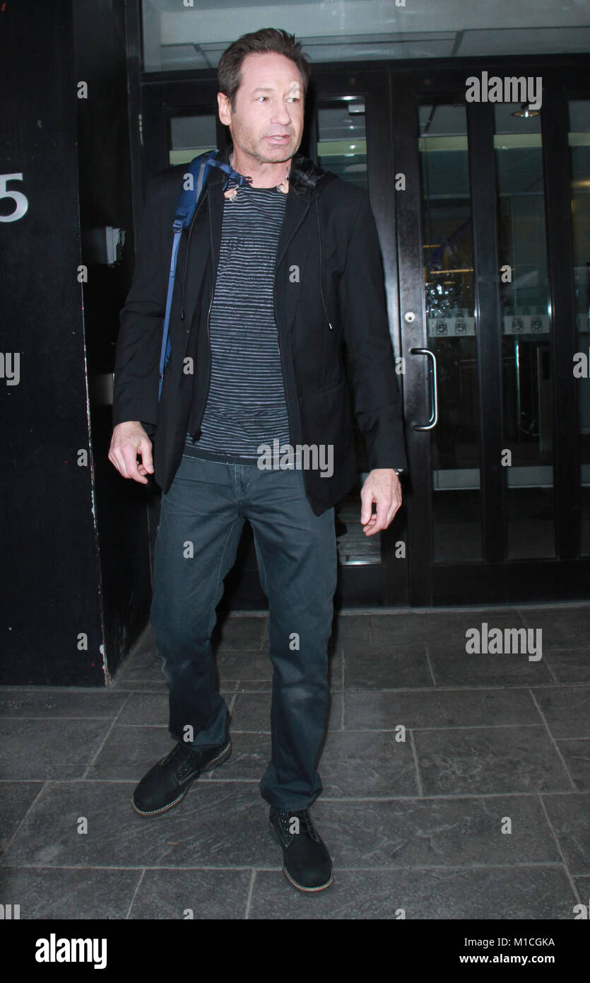 New York, NY, USA. 29th Jan, 2018. David Duchovny seen leaving after an appearance on Good Day NY promoting the - Stock Image