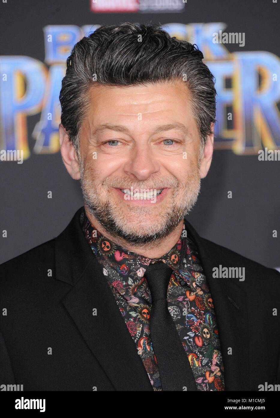 Los Angeles, CA, USA. 29th Jan, 2018. Andy Serkis at arrivals for Marvel Studios BLACK PANTHER Premiere, The Dolby - Stock Image