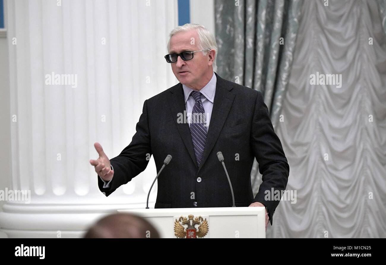 President of the Russian Union of Industrialists and Entrepreneurs Alexander Shokhin addresses attendees during - Stock Image