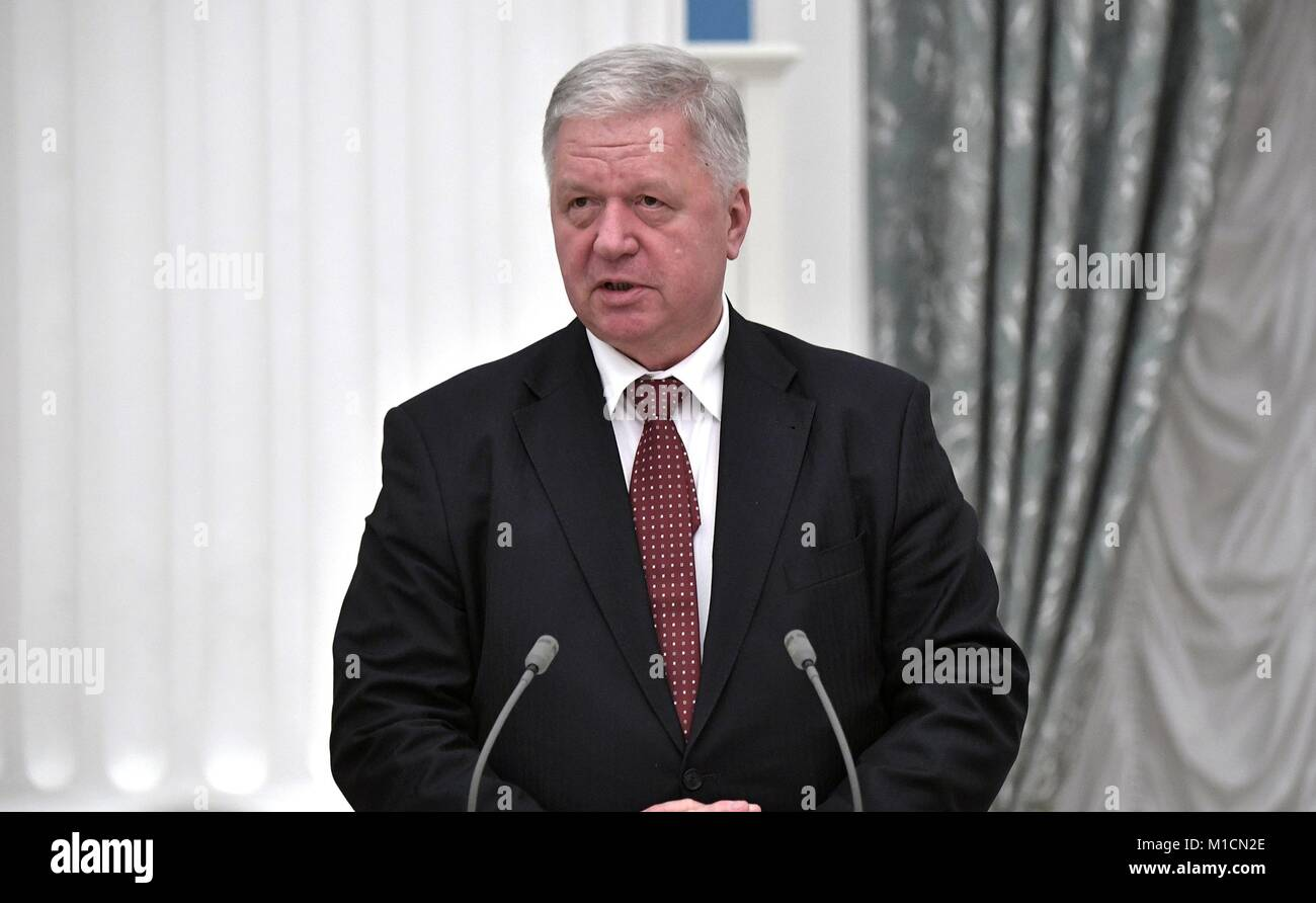Federation of Independent Trade Unions of Russia Chairman Mikhail Shmakov addresses attendees during a signing ceremony - Stock Image