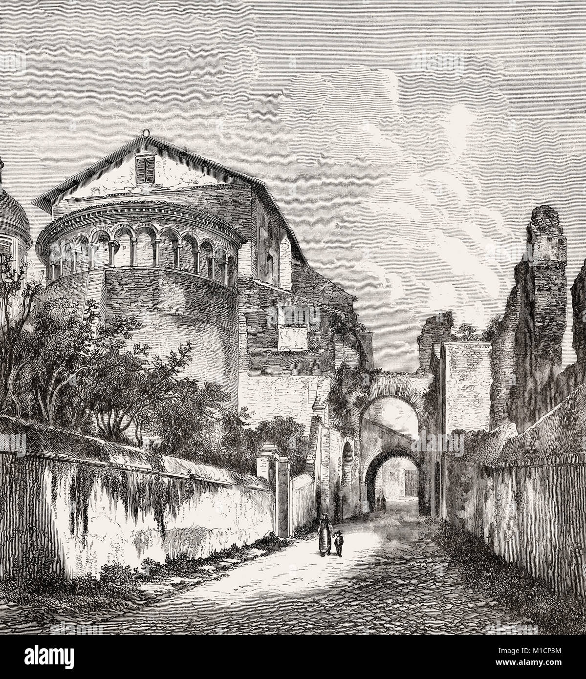 The Basilica of Saints John and Paul on the Caelian Hill, Rome, Italy, 19th Century Stock Photo