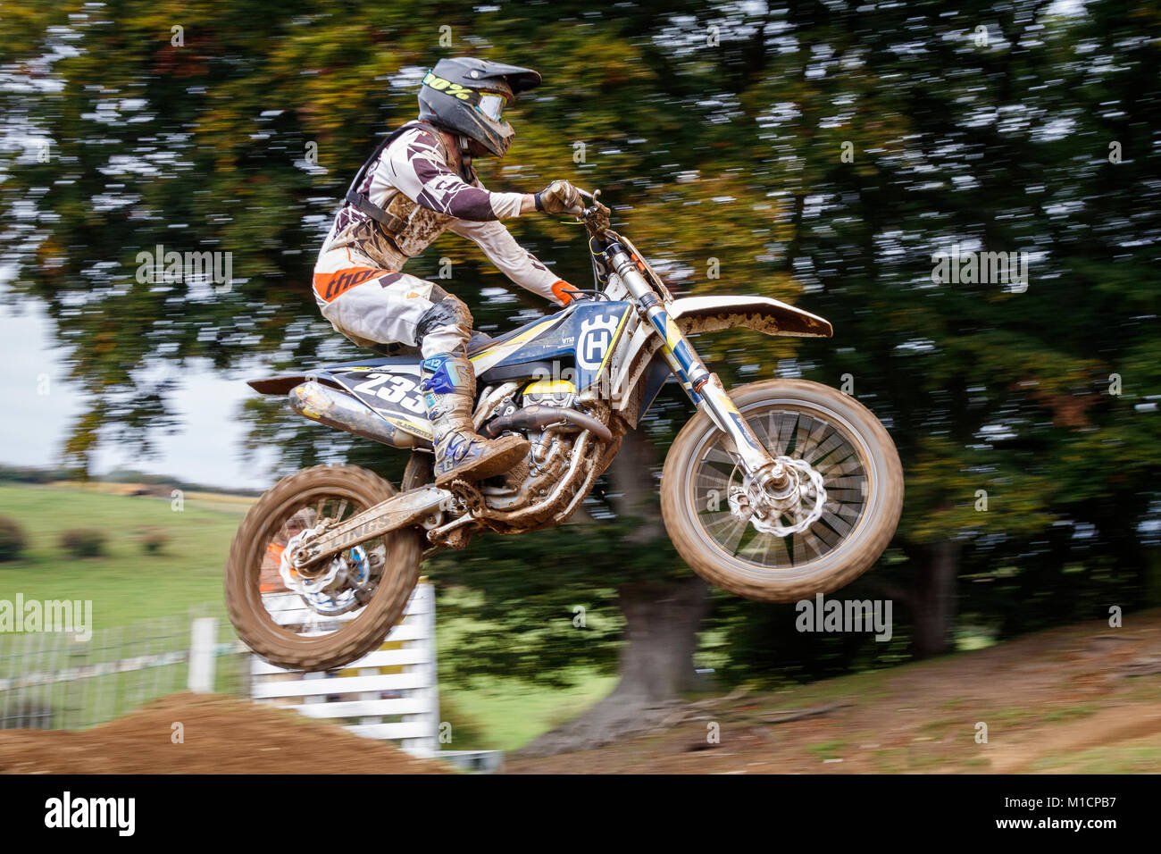 Justin King on the Husqvarna 250 at the NGR & ACU Eastern EVO Motocross Championships, Cadders Hill, Lyng, Norfolk, - Stock Image