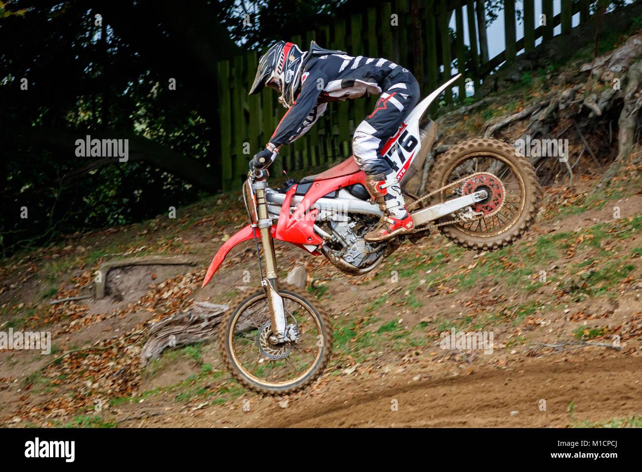 Zak Roberts on the Honda 250 at the NGR & ACU Eastern EVO Motocross Championships, Cadders Hill, Lyng, Norfolk, - Stock Image