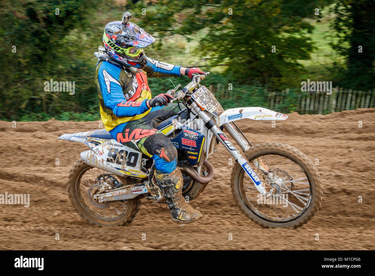 Christopher Bickley on the Husqvarna 450 at the NGR & ACU Eastern EVO Motocross Championships, Cadders Hill, - Stock Image
