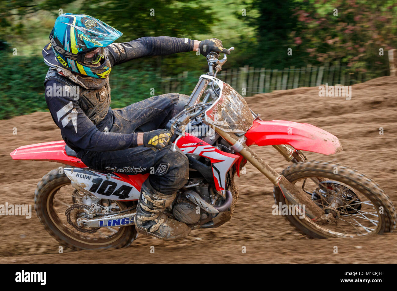 Jack Klimowicz on the Suzuki 250 at the NGR & ACU Eastern EVO Motocross Championships, Cadders Hill, Lyng, Norfolk, - Stock Image