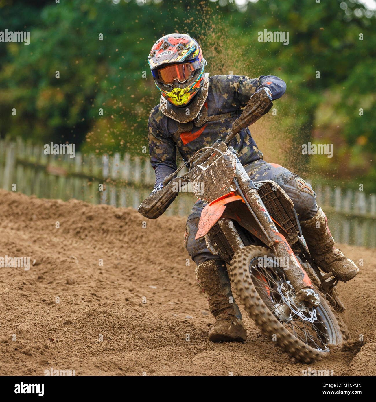 Daniel Patterson on the Patterson Accident Repairs KTM 350 at the NGR & ACU Eastern EVO Motocross Championships, - Stock Image