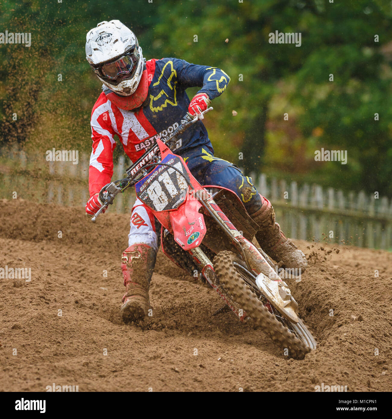 George Turner on the Eastwood Racing Wiseco Honda 250 at the NGR & ACU Eastern EVO Solo Motocross Championships, - Stock Image