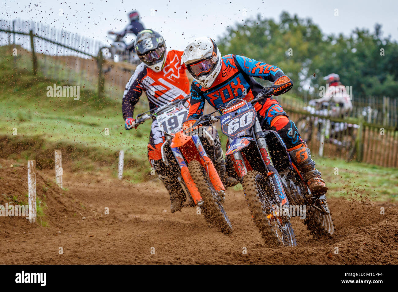 Aaron Framingham on the Fabrican Engineering KTM 250 at the NGR & ACU Eastern EVO Solo Motocross Championships, Stock Photo