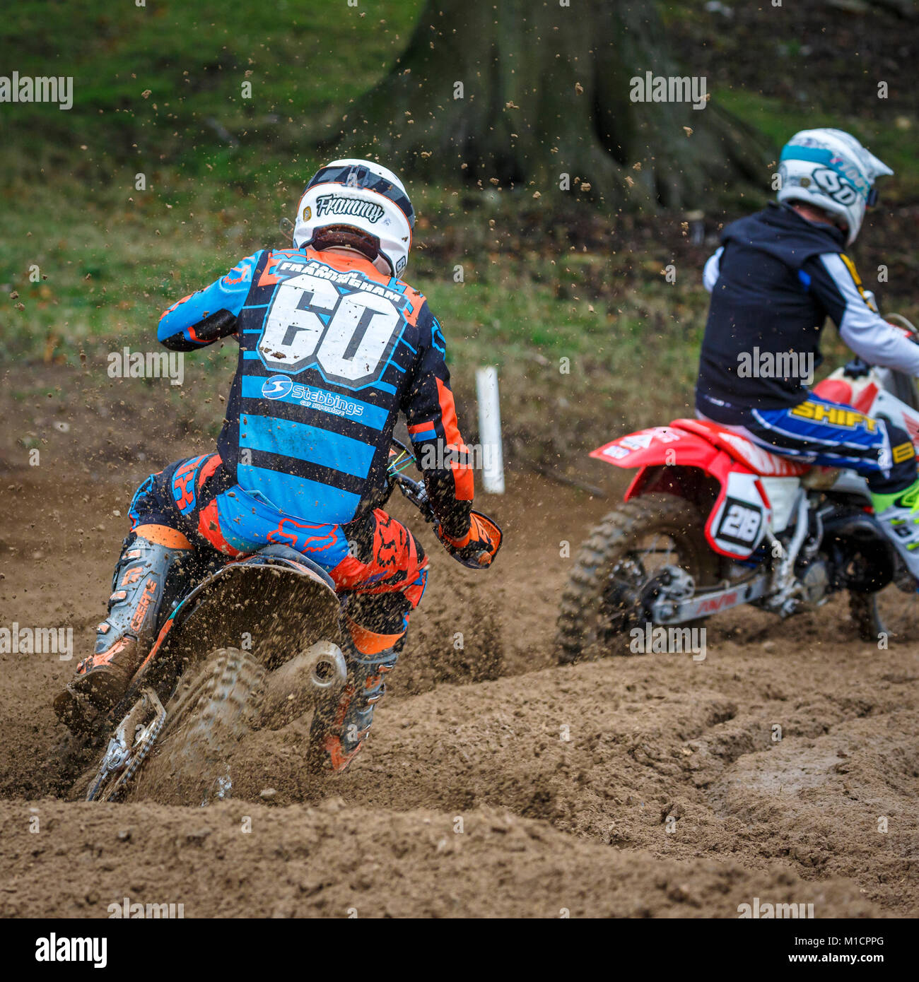 Aaron Framingham on the Fabrican Engineering KTM 250 at the NGR & ACU Eastern EVO Solo Motocross Championships, - Stock Image