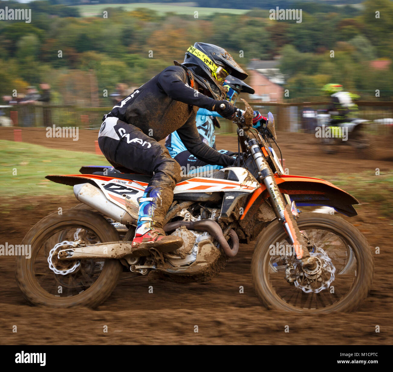 James Suckling on the Ridge Racing KTM 450 at the NGR & ACU Eastern EVO Solo Motocross Championships, Cadders - Stock Image