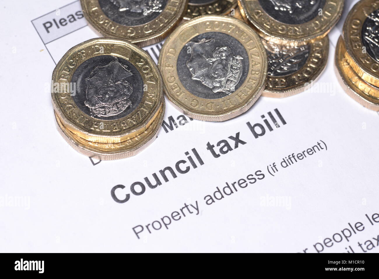 Council Tax Bill and cash Stock Photo