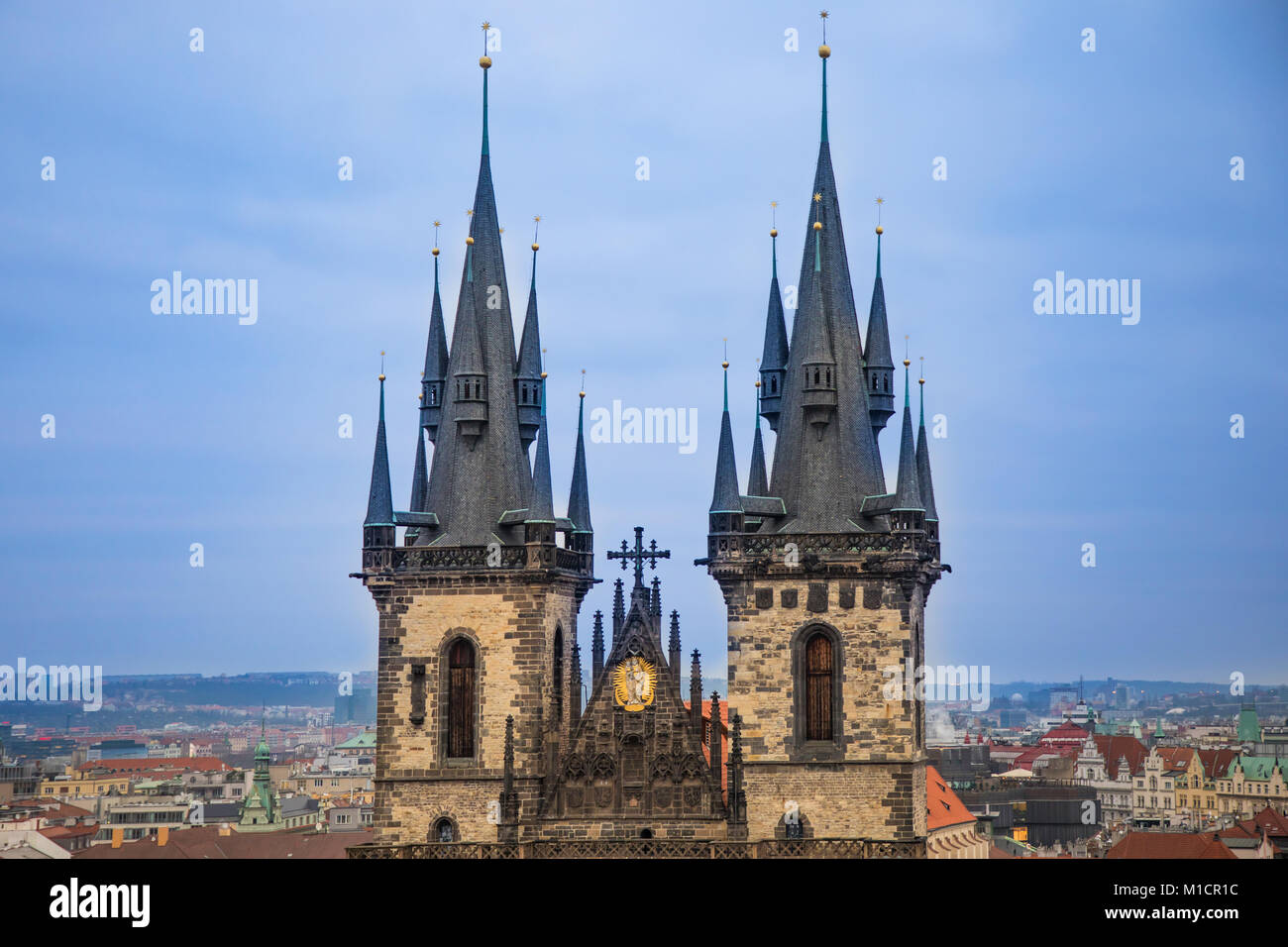 Church of Our Lady before Tyn on Old Town Square in Prague in evening time - Stock Image