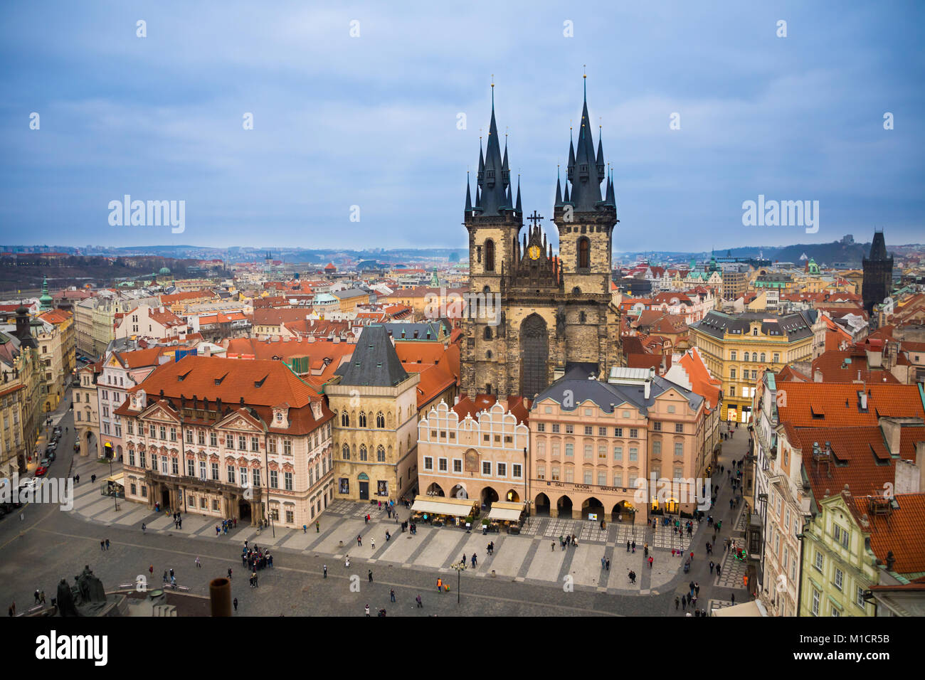 Old Town Square and Church of Our Lady before Tyn in Prague in evening time - Stock Image