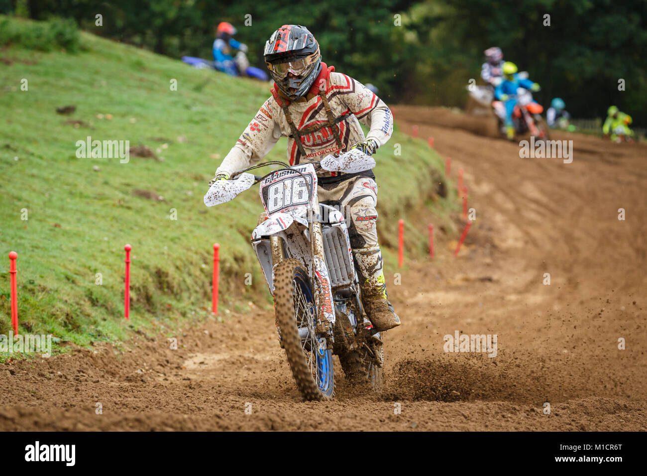Gareth Cushion on the DRD / Tinklers Motorcycles Yamaha 250 at the NGR & ACU Eastern EVO Motocross Championships, Stock Photo
