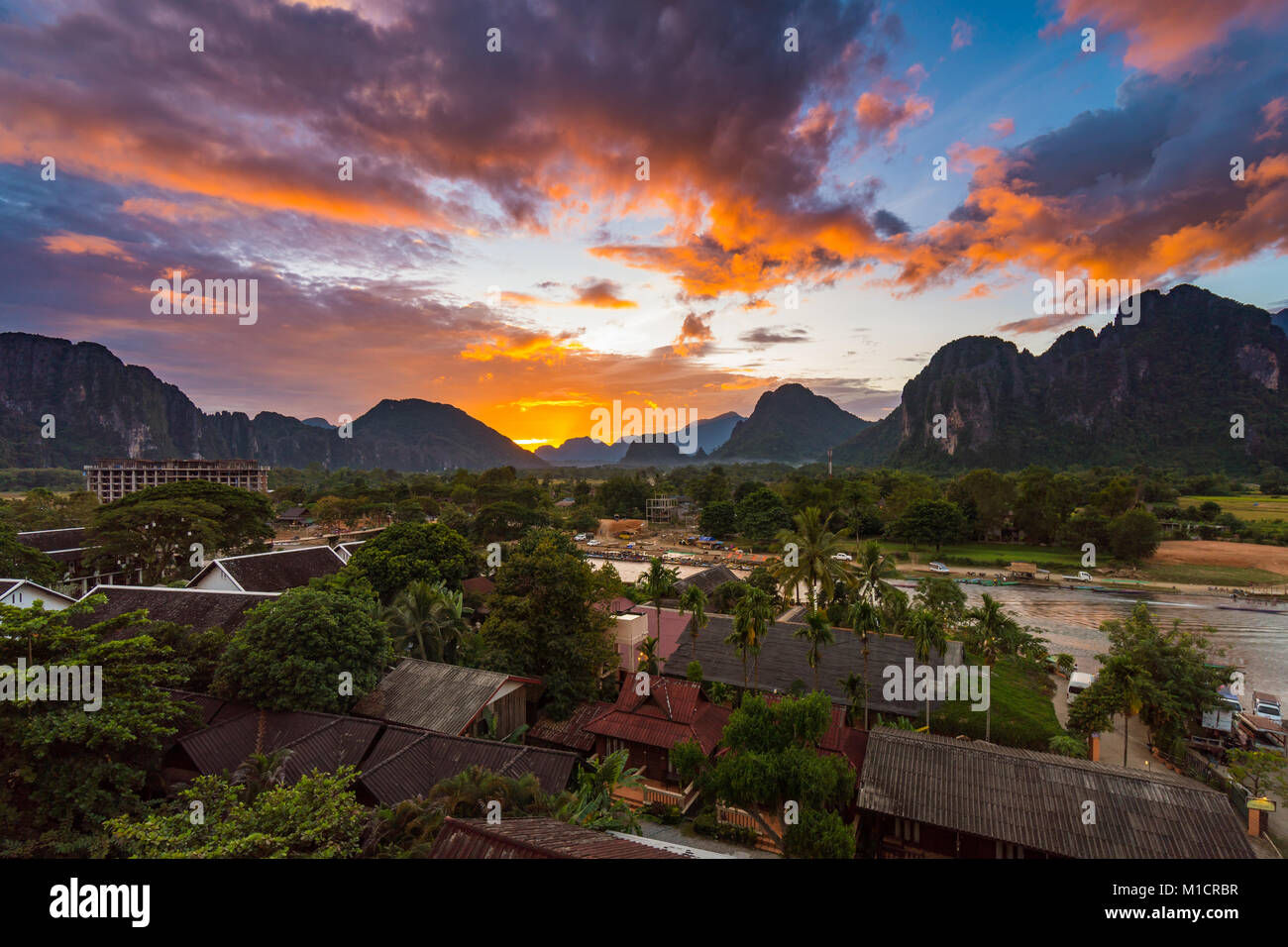 Landscape Viewpoint and beautiful sunset at Vang Vieng, Laos. - Stock Image