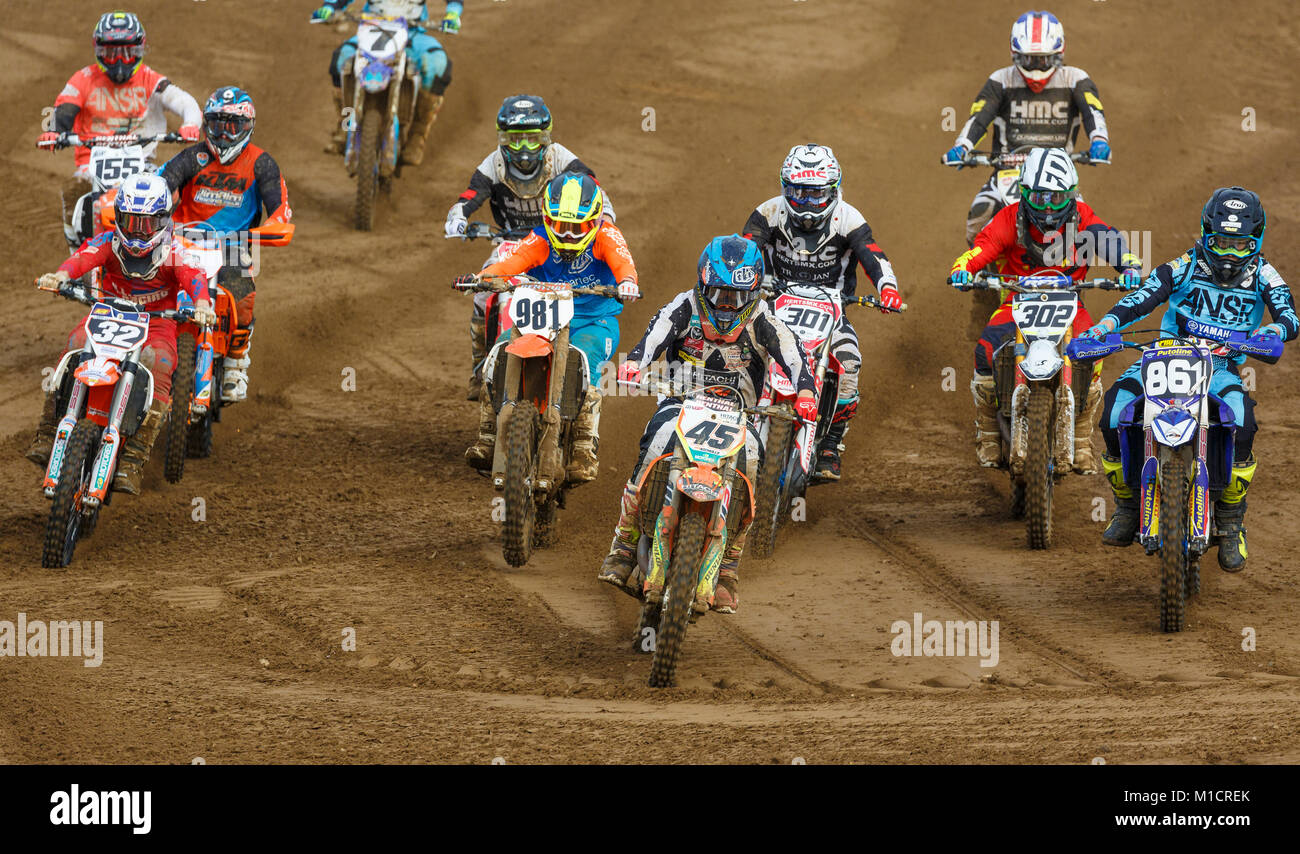 Jake Nicholls on the KTM heads the field at the NGR & ACU Eastern EVO Solo Motocross Championships, Cadders - Stock Image