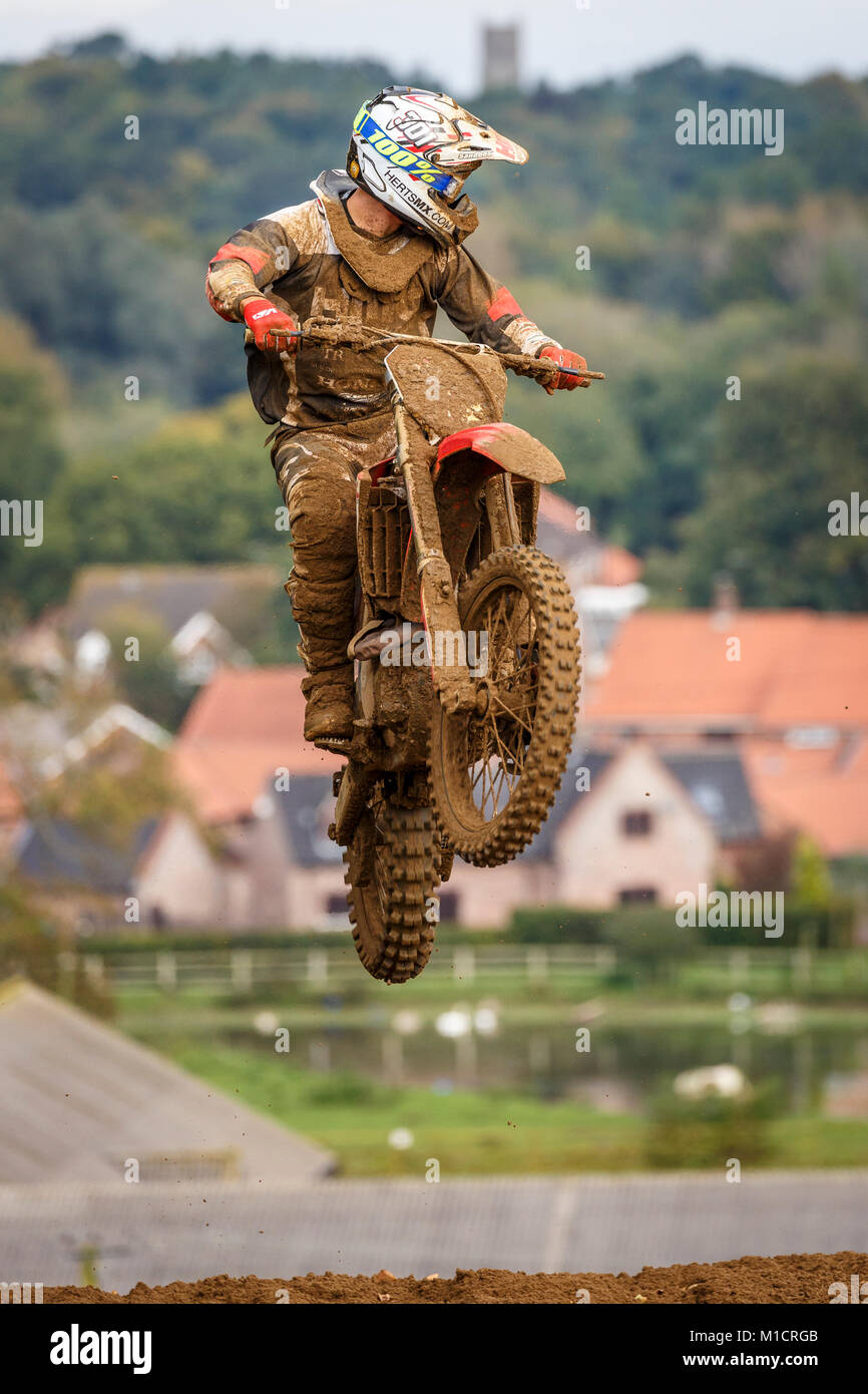 Shaun Southgate on the Herts MX / FTR Suspension Honda 450 at the NGR & ACU Eastern EVO Solo Motocross Championships, - Stock Image