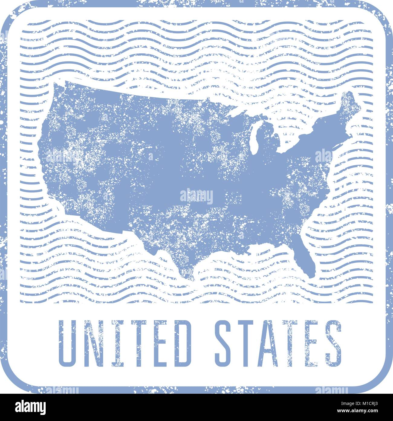 USA travel stamp with silhouette of map of United States of America ...