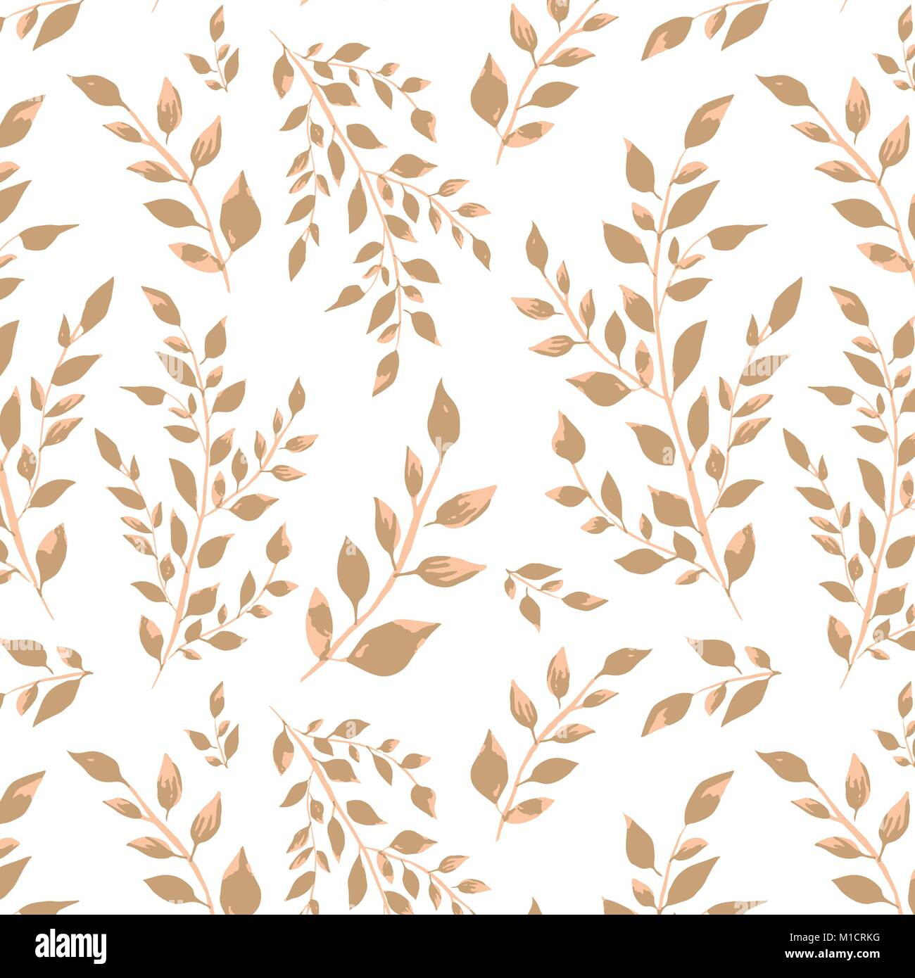 Leafy branches in creamy colors vector seamless pattern - Stock Image