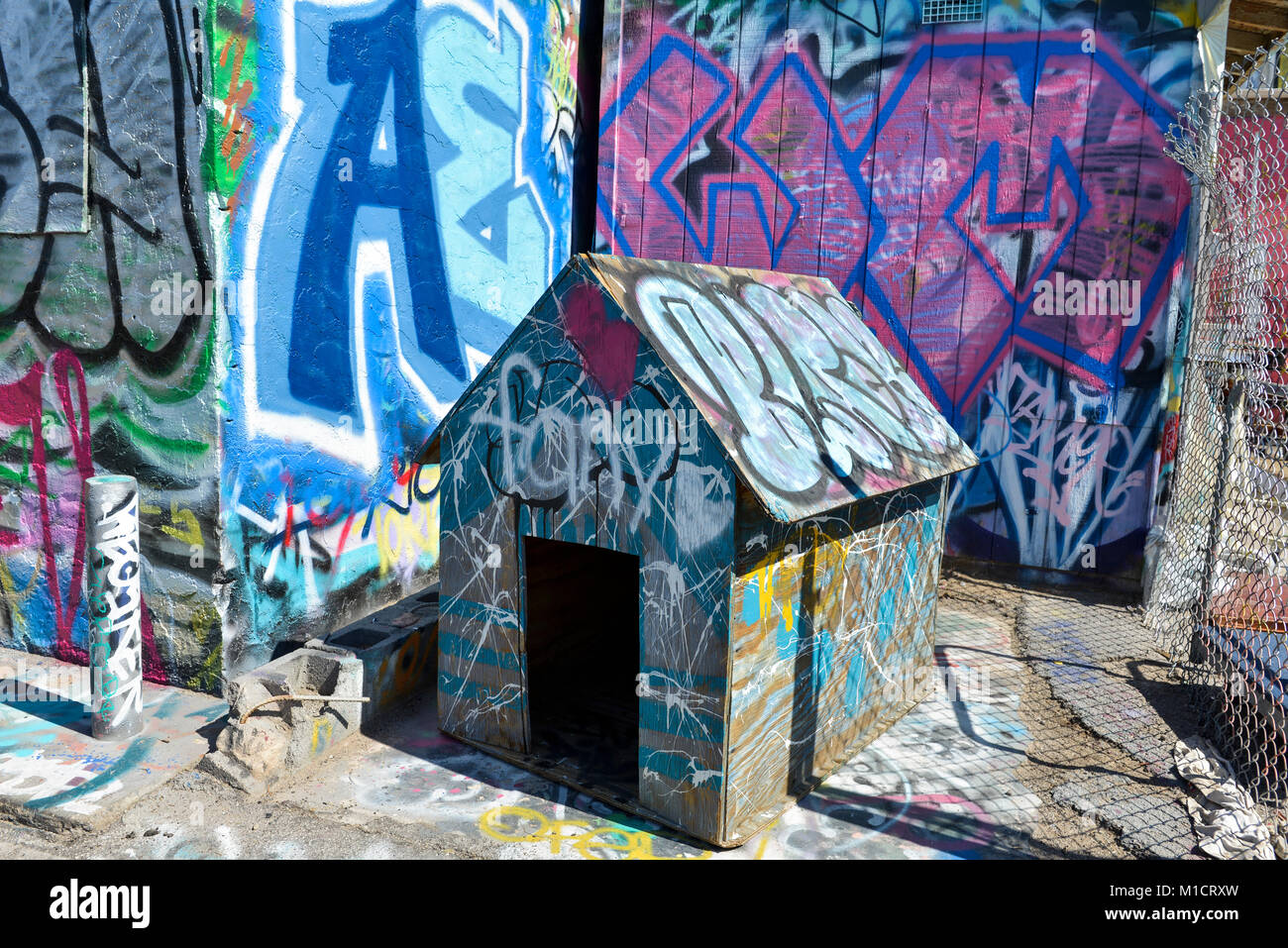 Graffiti art on a doghouse in downtown las vegas stock image