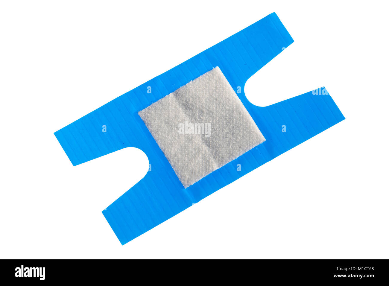 Blue detectable plaster. Sticking plaster cut out or isolated on a white background. First aid plaster. - Stock Image